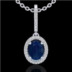 2 CTW Sapphire & Micro Pave VS/SI Diamond Necklace Halo 18K White Gold - REF-69M3H - 20669