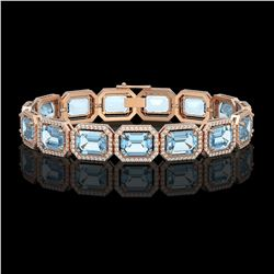 36.81 CTW Aquamarine & Diamond Halo Bracelet 10K Rose Gold - REF-600Y4K - 41547
