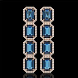 18.99 CTW London Topaz & Diamond Halo Earrings 10K Rose Gold - REF-184X4T - 41607