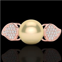 0.27 CTW Micro Pave VS/SI Diamond & Golden Pearl Designer Ring 14K Rose Gold - REF-39H3A - 22640
