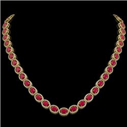 34.11 CTW Ruby & Diamond Halo Necklace 10K Yellow Gold - REF-562T9M - 40405