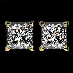 2.50 CTW Certified VS/SI Quality Princess Diamond Stud Earrings 10K Yellow Gold - REF-840F2N - 33116
