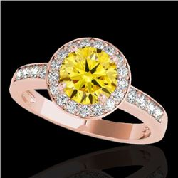 1.4 CTW Certified Si/I Fancy Intense Yellow Diamond Solitaire Halo Ring 10K Rose Gold - REF-180X2T -