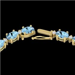 24 CTW Aquamarine & VS/SI Diamond Eternity Tennis Necklace 10K Yellow Gold - REF-243X5T - 21585