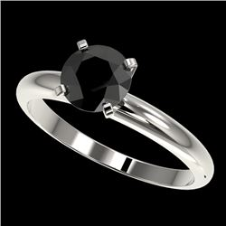 1.25 CTW Fancy Black VS Diamond Solitaire Engagement Ring 10K White Gold - REF-39T5M - 32906
