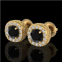 1.69 CTW Fancy Black Diamond Solitaire Art Deco Stud Earrings 18K Yellow Gold - REF-121A8X - 37991