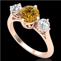 1.51 CTW Intense Fancy Yellow Diamond Art Deco 3 Stone Ring 18K Rose Gold - REF-236K4W - 38086