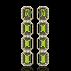 19.44 CTW Tourmaline & Diamond Halo Earrings 10K Yellow Gold - REF-258F9N - 41593