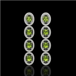 5.88 CTW Tourmaline & Diamond Halo Earrings 10K White Gold - REF-121F3N - 40523