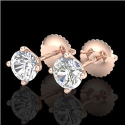 1.01 CTW VS/SI Diamond Solitaire Art Deco Stud Earrings 18K Rose Gold - REF-180W2F - 37299