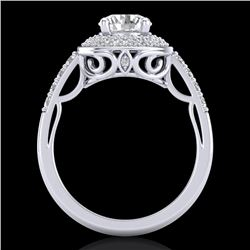 1.7 CTW VS/SI Diamond Solitaire Art Deco Ring 18K White Gold - REF-436A4X - 37253