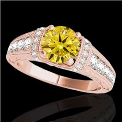 1.75 CTW Certified Si Intense Yellow Diamond Solitaire Antique Ring 10K Rose Gold - REF-218Y2K - 347