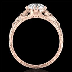 1 CTW VS/SI Diamond Solitaire Art Deco Ring 18K Rose Gold - REF-315F2N - 36909