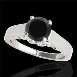 1 CTW Certified VS Black Diamond Solitaire Ring 10K White Gold - REF-44H5A - 35140