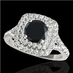 1.6 CTW Certified VS Black Diamond Solitaire Halo Ring 10K White Gold - REF-78X4T - 33361