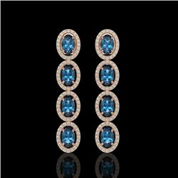 6.28 CTW London Topaz & Diamond Halo Earrings 10K Rose Gold - REF-104Y5K - 40539