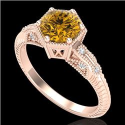 1.17 CTW Intense Fancy Yellow Diamond Engagement Art Deco Ring 18K Rose Gold - REF-180K2W - 38037