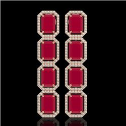 20.59 CTW Ruby & Diamond Halo Earrings 10K Rose Gold - REF-230N9Y - 41574