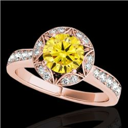 1.5 CTW Certified Si/I Fancy Intense Yellow Diamond Solitaire Halo Ring 10K Rose Gold - REF-180M2H -