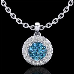 1 CTW Intense Blue Diamond Solitaire Art Deco Stud Necklace 18K White Gold - REF-138X2T - 37663