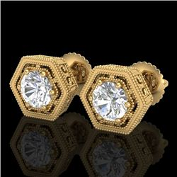 1.07 CTW VS/SI Diamond Solitaire Art Deco Stud Earrings 18K Yellow Gold - REF-190A9X - 36901