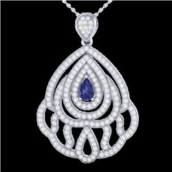 2 CTW Tanzanite & Micro Pave VS/SI Diamond Designer Necklace 18K White Gold - REF-178X2T - 21274