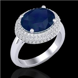 4.50 CTW Sapphire & Micro Pave VS/SI Diamond Ring 18K White Gold - REF-119A6X - 20924