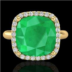 6 CTW Emerald And Micro Pave Halo VS/SI Diamond Ring Solitaire 18K Yellow Gold - REF-82F9N - 23098