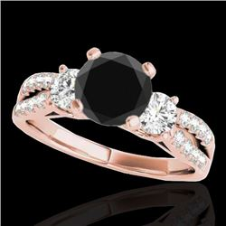 1.75 CTW Certified VS Black Diamond 3 Stone Ring 10K Rose Gold - REF-73H8A - 35416