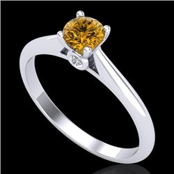 0.4 CTW Intense Fancy Yellow Diamond Engagement Art Deco Ring 18K White Gold - REF-80W2F - 38183
