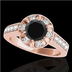 2 CTW Certified VS Black Diamond Solitaire Halo Ring 10K Rose Gold - REF-91F3N - 34490