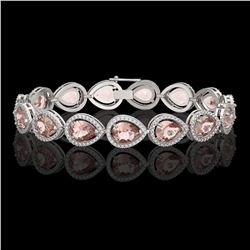19.55 CTW Morganite & Diamond Halo Bracelet 10K White Gold - REF-480A4X - 41246