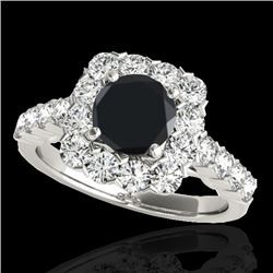 2.5 CTW Certified VS Black Diamond Solitaire Halo Ring 10K White Gold - REF-121H8A - 33346