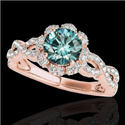 1.69 CTW Si Certified Fancy Blue Diamond Solitaire Halo Ring 10K Rose Gold - REF-188A2X - 34111