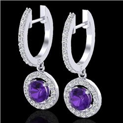 1.75 CTW Amethyst & Micro Pave Halo VS/SI Diamond Earrings 18K White Gold - REF-86A2X - 23245