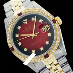 Rolex Men's Two Tone 14K Gold/SS, QuickSet, Diam Dial & Diam/Ruby Bezel - REF-557M4F