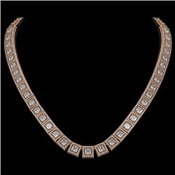 36.30 CTW Princess Diamond Designer Necklace 18K Rose Gold - REF-6619X3T - 42633
