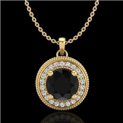 1.25 CTW Fancy Black Diamond Solitaire Art Deco Stud Necklace 18K Yellow Gold - REF-89X3T - 38019