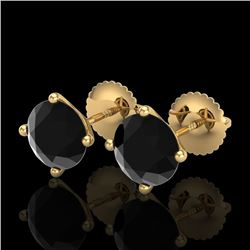 2.5 CTW Fancy Black Diamond Solitaire Art Deco Stud Earrings 18K Yellow Gold - REF-81X8T - 38250