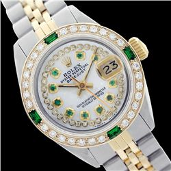 Rolex Ladies Two Tone 14K Gold/SS, Diam/Emerald Dial & Diam/Emerald Bezel, Sapphire Crystal - REF-44