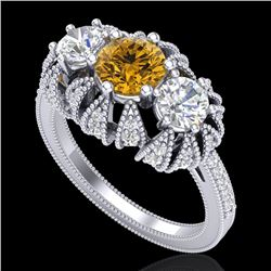 2.26 CTW Intense Fancy Yellow Diamond Art Deco 3 Stone Ring 18K White Gold - REF-254A5X - 37749
