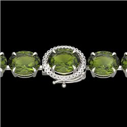 65 CTW Green Tourmaline & Micro VS/SI Diamond Halo Bracelet 14K White Gold - REF-593A8X - 22263
