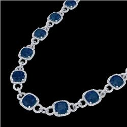 56 CTW Sapphire & Micro VS/SI Diamond Eternity Necklace 14K White Gold - REF-960Y2K - 23050