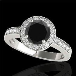 1.4 CTW Certified VS Black Diamond Solitaire Halo Ring 10K White Gold - REF-67Y8K - 34345