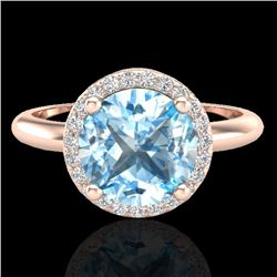 2.70 CTW Sky Blue Topaz & Micro VS/SI Diamond Ring Designer Halo 14K Rose Gold - REF-45M6H - 23215