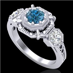 1.01 CTW Fancy Intense Blue Diamond Art Deco 3 Stone Ring 18K White Gold - REF-165X5T - 37467