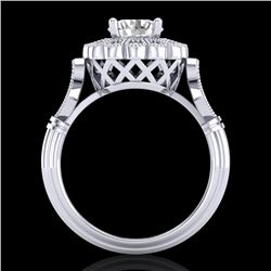 1.2 CTW VS/SI Diamond Solitaire Art Deco Ring 18K White Gold - REF-345W2F - 37049