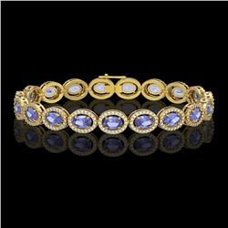 14.25 CTW Tanzanite & Diamond Halo Bracelet 10K Yellow Gold - REF-273M5H - 40462