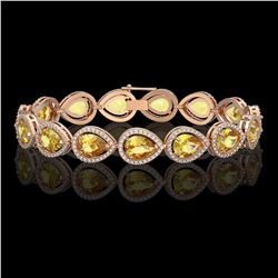 17.3 CTW Fancy Citrine & Diamond Halo Bracelet 10K Rose Gold - REF-282K9W - 41277