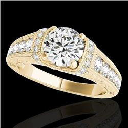 1.5 CTW H-SI/I Certified Diamond Solitaire Antique Ring 10K Yellow Gold - REF-180H2A - 34776